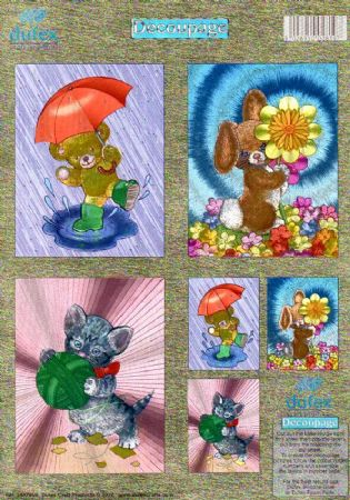 Kitten, Teddy Bear & Bunny Twin Pack 3d Die Cut Decoupage Sheet From Dufex